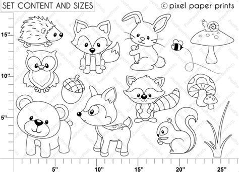 printable coloring pages woodland animals digital sts woodland animals digital sts
