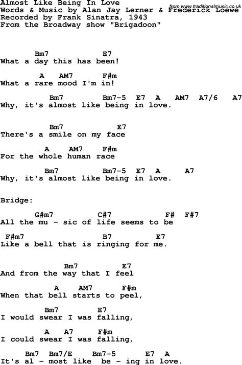 song lyrics with guitar chords for almost like being in