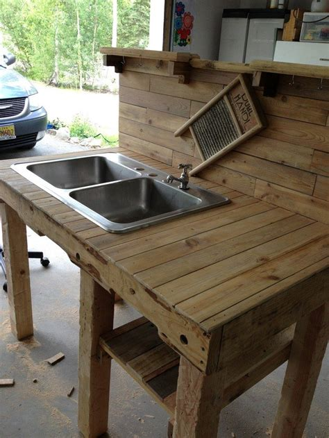 outdoor kitchen sink turn a wooden cable spool into an outdoor kitchen or