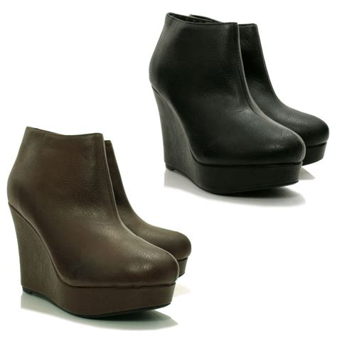 wedge boots new leather style wedge heel platform shoes ankle boots ebay