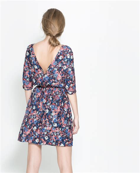 Floral Mini Dress Pink Zara Trafaluc Trf zara floral dress with buttons at the back lyst