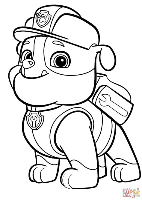 free paw patrol coloring pages paw patrol rubble coloring page free printable coloring