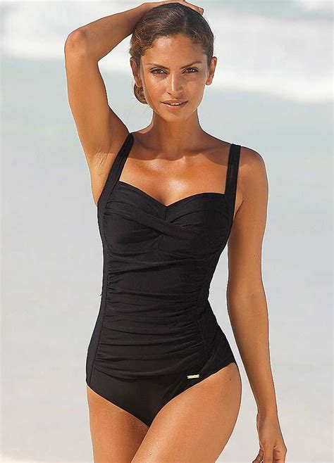 what beach wear for 60 black cup cross swimsuit by lascana one piece swimsuits