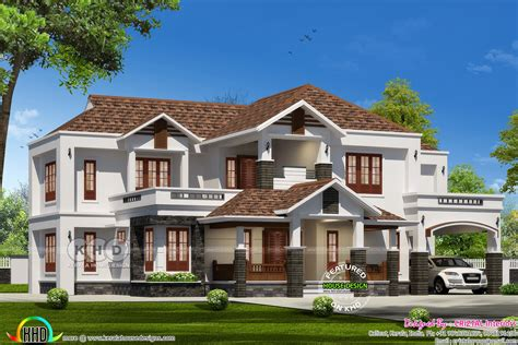 2490 sq ft sloped roof single floor home design veeduonline 3442 sq ft sloping roof house with 5 bedrooms kerala