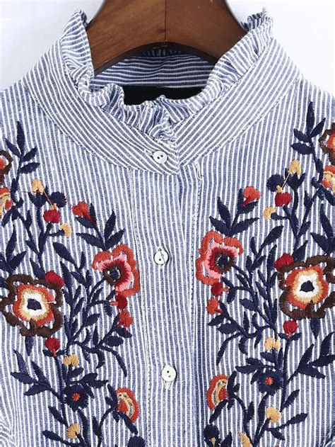 Blue Stripe Frill Embroidered Shirt Size Sml 1 vertical striped flower embroidered frill shirt shein sheinside