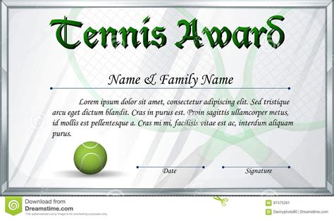 tennis certificate template free certificate template for tennis award stock vector image
