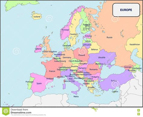 political map of europe with country names political map of europe with names stock vector image