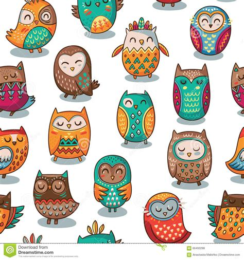 tribal pattern owl background seamless pattern with tribal owls stock vector image