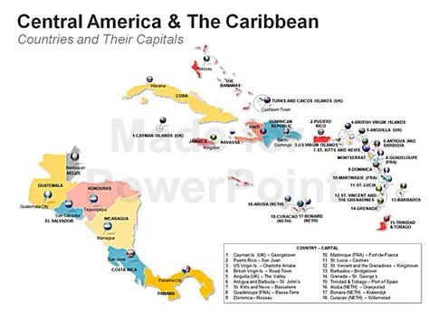 central america the caribbean map americas map editable ppt slides