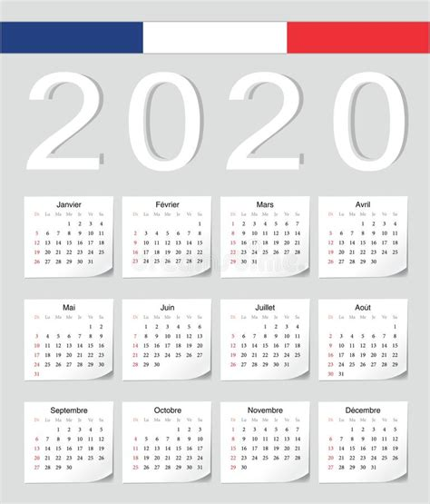 calendar  french sunday stock vector illustration  months start