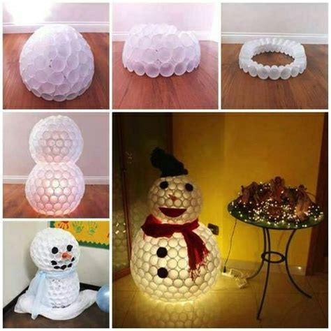 pupazzo di neve bicchieri di plastica decorazioni natalizie con bicchieri di carta pagina 4