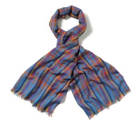 oversized lightweight cotton and wool madras scarf wool