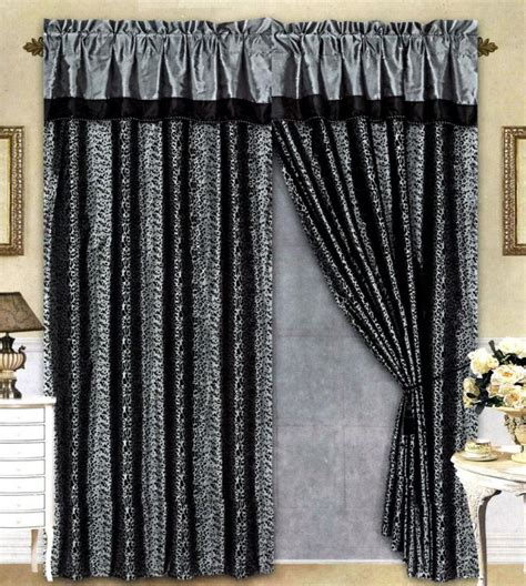 Grey Curtain Valance black grey flocking leopard satin window curtain drape set sheer liner valance ebay