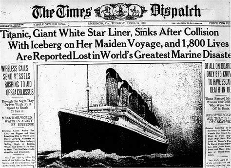 Titanic Sinks Newspaper by Titanic Newspaper Article The Times Dispatch Richmod Va