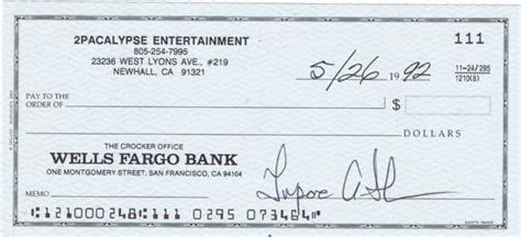 Lot Detail Tupac Shakur Signed Business Bank Check Jsa Atron Gregory Loas Fargo Business Check Template