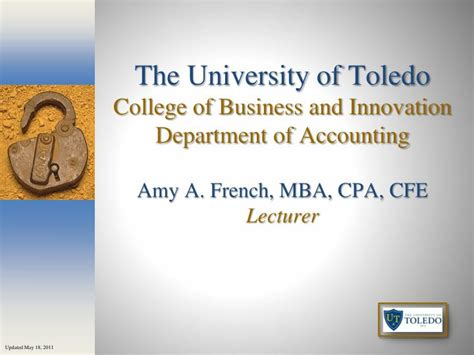 Department Code For Mba by Ppt The Of Toledo College Of Business And