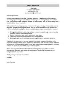 Cover Letter Manager Position by Leading Professional Restaurant Manager Cover Letter