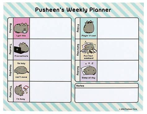 printable weekly planner studyblr buy pusheen weekly planner at mighty ape nz