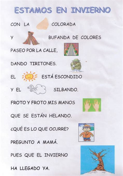 poemas infantil 17 best images about invierno canciones poesias etc on
