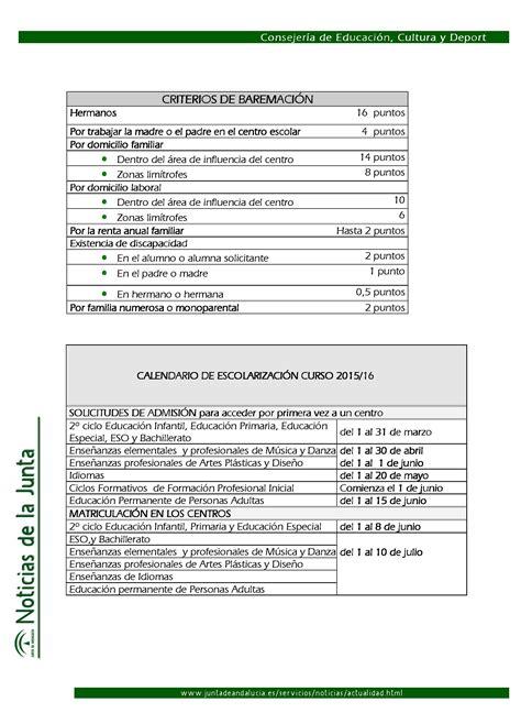 Calendario Escolar Andalucia 15 16 Abierto El Plazo De Escolarizaci 243 N Para El Curso 2015 16