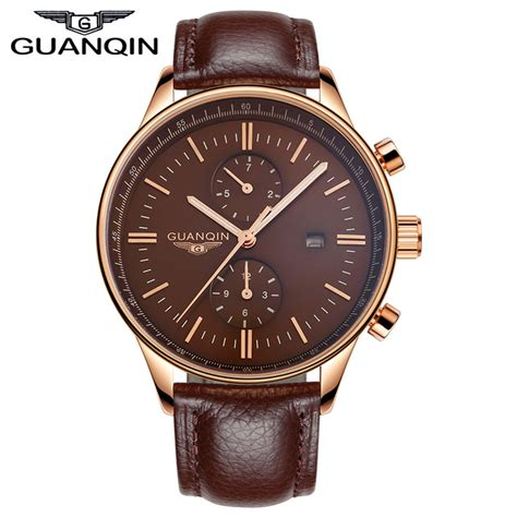 2015 guanqin mens watches luxury brand genuine leather