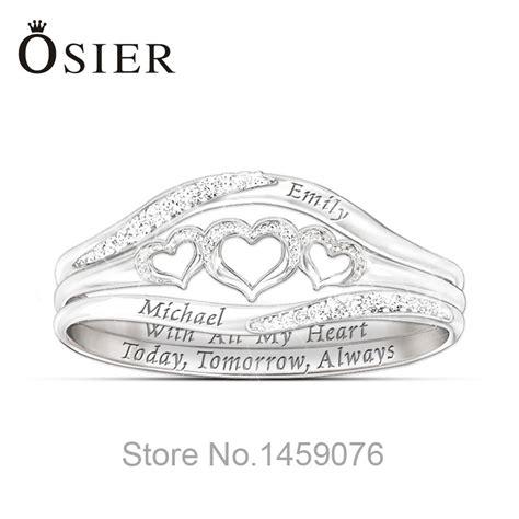 sterling sliver custom name engravable hearts ring sets