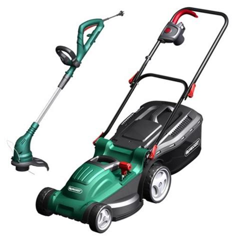 qualcast motor mowers qualcast rotary mower 1500w and trimmer 430w set