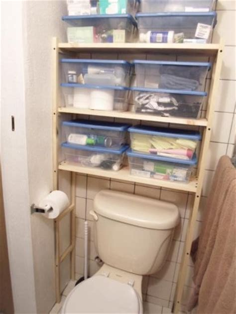 diy over the toilet shelving unit one house one couple