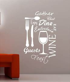 kitchen word cloud vinyl wall art quote sticker dining food wine countries the world map binary box