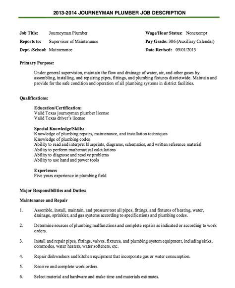 resume plumber device tester resume