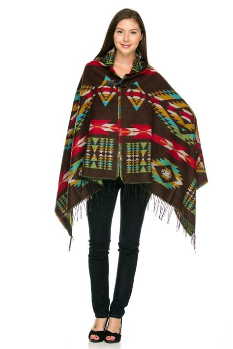 brown pattern poncho brown aztec hooded pattern sweater poncho velvet