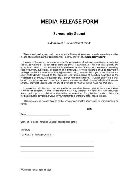 50 inspirational image media release consent form template form