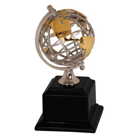 Modern Metal Globe Award Trophy