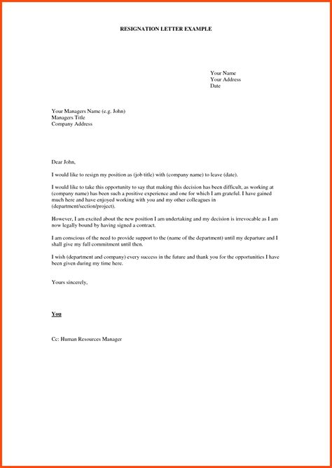 exle of formal letter nz draft resignation letter templates program format