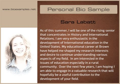 company biography template personal bio sles bio exles