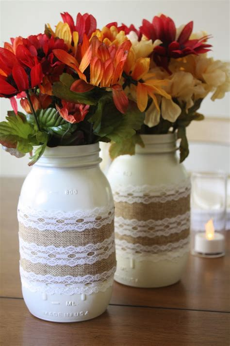 jar centerpieces burlap and lace jar centerpieces catch my