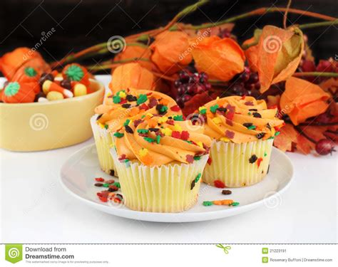 fall decorated cupcakes fall decorated cupcakes and stock image