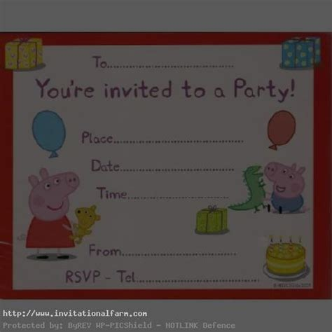 peppa pig invitation card template peppa pig birthday invitations template free invitations