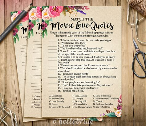 movie love quote match game printable boho bridal shower