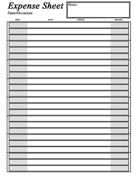expense sheet template free free printable expense sheet
