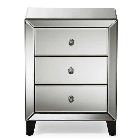 Mirrored Nightstand With Drawers by Baxton Studio Chevron 3 Drawer Silver Mirrored Nightstand