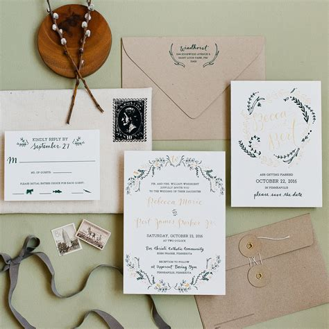 Wedding Invitations Green by Rustic Green And Gold Foil Wedding Invitations