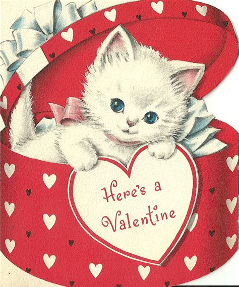 cat valentines card 1950s cat s day card cats 1950s