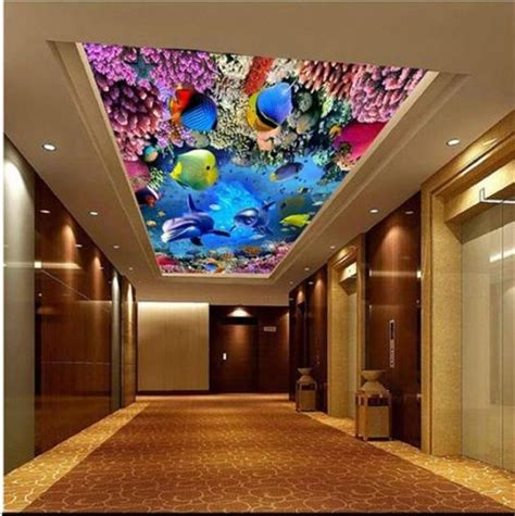 Talenan Lukis Custom Wall Decor Hiasan Rumah bahasa ide gambar 3 dimensi wallpaper underwater yang menakjubkan