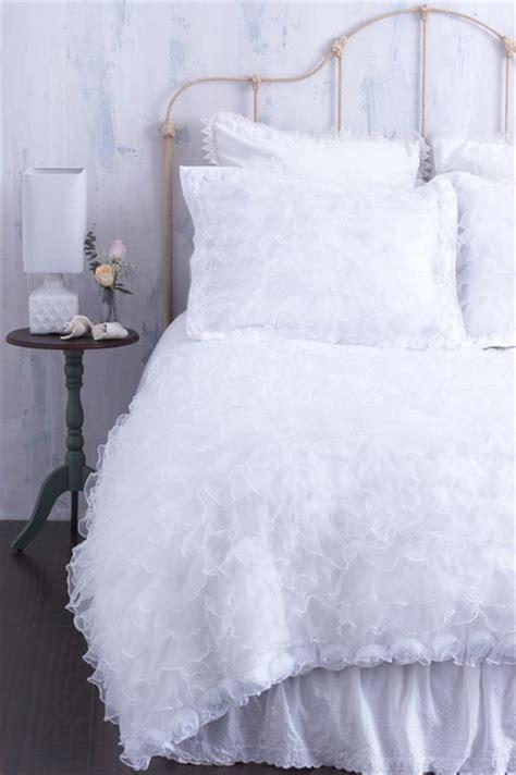 Chenille Duvet White Ruffled Duvet Cover With Rosette Trim Chenille Top