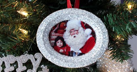glitter photo christmas tree ornaments two sisters crafting