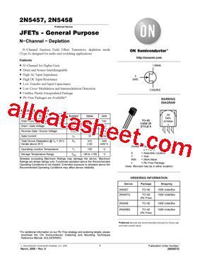 Transistor Sanken To 200m Isolator 2n5458 datasheet pdf on semiconductor