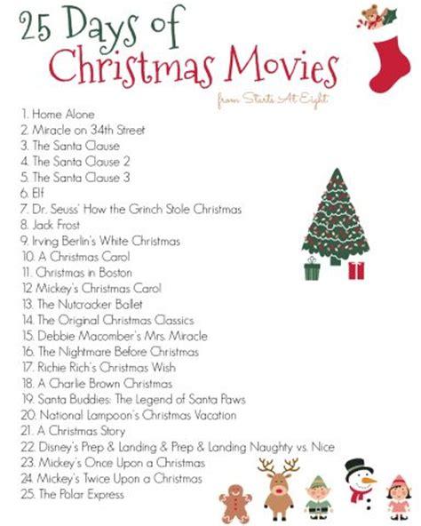 printable christmas movie list 25 days of christmas movies with free printable list