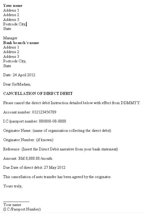 direct debit cancellation letter templates exle of auto debit cancellation letter