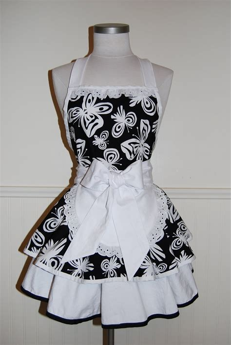 pattern for maids apron new gorgeous black and white butterflies 2 tier